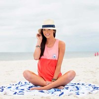 Southern Shirt Company Colorblock Racerback Tank Top in Fire Coral 2T019-261