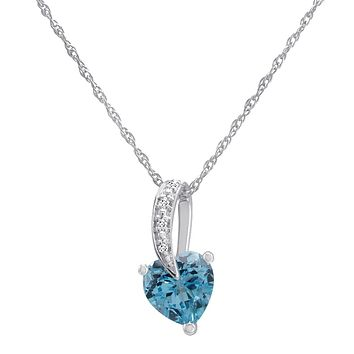Swiss Blue Topaz Heart and Diamond Pendant-Necklace in  Sterling Silver