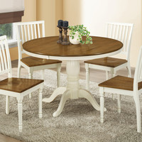 "Dining Table - 48""Diameter - Antique White - Oak Veneer"