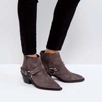 AllSaints Western Boots With Ankle Strap Detail at asos.com