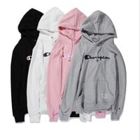 Plus velvet hooded sweater Men and women with the same paragraph embroidery loose hedron long-sleeved shirt