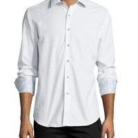 Cullen Long-Sleeve Jacquard Sport Shirt, White, Size: