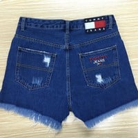 tommy jeans high waist 90 s shorts with stars stripes