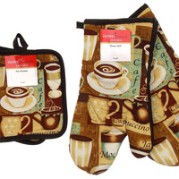 Cafe Coffee Mocha Set 4 Oven Mitt Gloves Pot Holders Cappuccinos Kitchen Brown