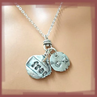 FREE - Double Pendant Silver Necklace Eco Friendly Pivoting 2-Sided GREAT GIFT for Your Newly Divorced, SIngle Friends, and Proud Americans
