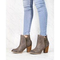 Not Rated - Gretchen Laser Cut Ankle Bootie in Taupe
