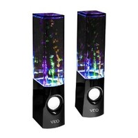 Colour Jets USB Dancing Water Speakers Complete with Pro Braided Auxiliary cable - for PC, Mac, MP3 Players, Mobile Phones inc. iPhone , Galaxy s4 s3 & Tablets, ipad, ipod. Colour Jet black