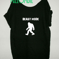 GYM shirt Tshirt, Off The Shoulder, Over sized,   graphic tee, mizzombie grunge workout bigfoot