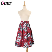 2016 Spring Red Women Skirts High Waist Vintage Printed Floral Midi Skirt A Line For Women