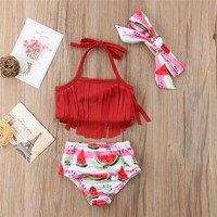 US Toddler Kid Baby Girls Tassel Bikini Set Fruit Swimwear Swimsuit Bathing Suit Watermelon tassel bathing suit - red