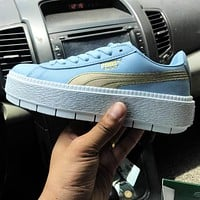 Bunchsun Puma Sky Blue Women Fresh Shoes Sport Shoes Gold Logo