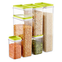 Narrow Stacking Canisters with Lime Lids