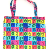 1980s Themed Tote Bag, 80s Hairstyle Tote with Zipper, Neon 80s Accessories, 80s Hairstyle Art, Retro Tote Bag, Retro Gift Ideas, 80s Hair