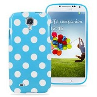 Samsung Galaxy S4 Polka Dot Soft Rubberized Case Cover (Blue)