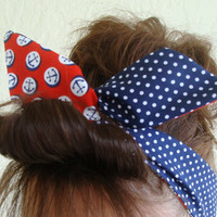 Dolly Bow Reversible Wire Headband Red Anchors over Navy Blue Polka Dots Rockabilly Pin Up Hair Accessory for  Teens Women Girls