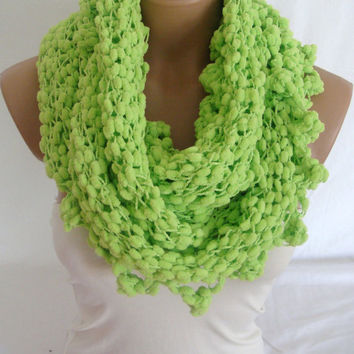 Hand Knitted Neon Green Cowl, Scarf, Neck Warmer