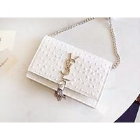 YSL fashion single shoulder bag with pure color hot selling casual lady shopping bag White