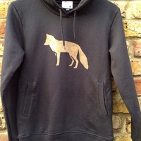 Fox hoodie - low CO2, organic cotton, fairly traded, hand printed