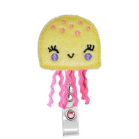 Cute Jelly Fish (Yellow)-Name Badge Holder-Nurses Badge Holder-Cute Badge Reels - Unique ID Badge Holder - RN Badge Reel