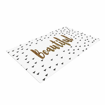 """Suzanne Carter """"Beautiful"""" Gold Typography Woven Area Rug"""
