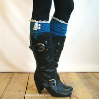 The Milly Lace - Teal cable-knit Boot Socks with ivory knit lace trim and buttons - lace socks  (item no. 5-21)