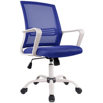 Office Chair, Mid Back Mesh Office Computer Swivel Desk Task Chair, Ergonomic Executive Chair with Armrests Blue