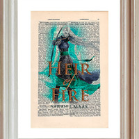 Throne of Glass Heir of Fire Print on a vintage encyclopedia page (unframed) - book cover art, Sarah J Maas