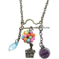 Licensed cool Disney Up Cloud Charm Cluster Long Necklace Carl's Balloon House Grape Soda NEW