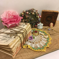 Vintage decor lot, old book, jewelry, earrings, pins, cameo, hat,, glasses necklace, wood, doily, inspiration, shabby chic
