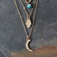 LA Hearts Evil Eye Layered Necklace at PacSun.com