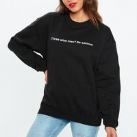 Missguided - Black Three Wise Men Slogan Sweatshirt