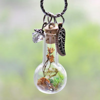 Terrarium Necklace Woodland Nature Jewelry Dried Flowers Moss Fern and Crystal, Boho Jewelry Long Necklace 30 inch Antique Silver Chain