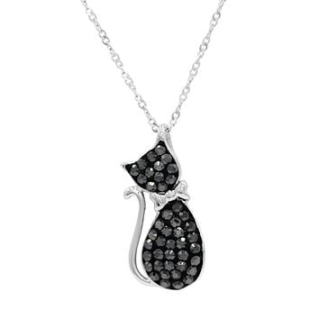 Sterling Silver Black Crystal Cat Pendant made with Swarovksi Crystals