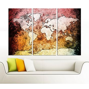 Large Canvas Wall Art Pink Orange and Black Backgrounded World Map 3 Piece Triptych Vintage Retro