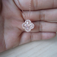 Gold necklace, clover necklace, large pieces zircon crystals, surrounding studded mini crystal,clavicle chain, delicate, elegant, best gift