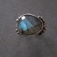 One of a Kind Sterling Silver Labradorite Ring