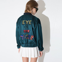 Sequined Eye of the Tiger Letters Print Baseball Jacket