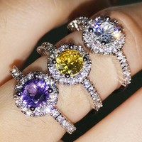 Stylish diamond-encrusted ring jewel amethyst engagement ring birthday present