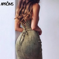 Sexy Backless Lace Up Suede Dress Women Sundresses Spring Sleeveless Slim Body con Club Wear Dresses