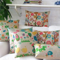 """MagicPieces Cotton and Flax Flower and Garden Decorative Pillow Cover Case B 18"""" x 18"""" Square Shape-flower-garden-cartoon-dreamland-sweet-spring-summer"""