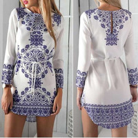 Sexy Women Long Sleeve Blue and White Party Evening Cocktail Casual Mini Dress = 1958466244