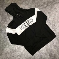 KENZO Black and white colorblock hooded sweater