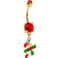 Gold Plated Holiday Candy Cane Belly Ring | Body Candy Body Jewelry