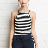 Cropped Stripe Halter Top