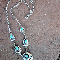 Zuni Turquoise Bear Claw Necklace Sensa Eustace S.E. Sterling Vintage Jewelry Gift