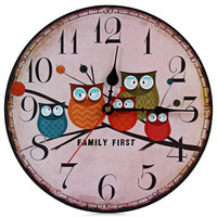 2016 New European Style Vintage Creative Forest Owl Round Wood Wall Clock Quartz Bracket Kitchen Clocks Decoration Decor