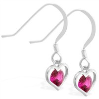 Sterling Silver Earrings with small dangling Ruby jeweled heart