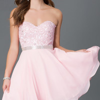 Short Strapless Sweetheart Dress with Lace Bodice 9184
