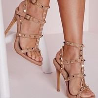 Missguided - Studded Heeled Gladiator Sandals Blush