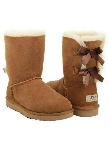 Image of UGG:: bow leather boots boots in tube